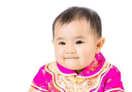 Little girl with chinese style dressing photo