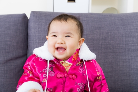 Chinese little girl feel so happy photo
