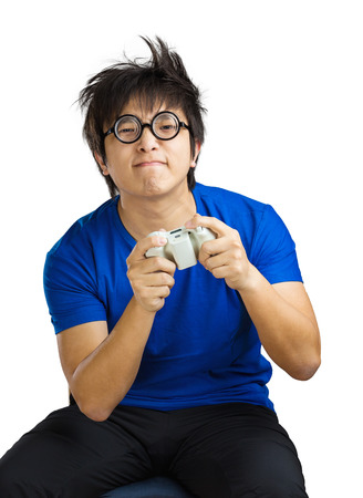 freak out: Man playing video game
