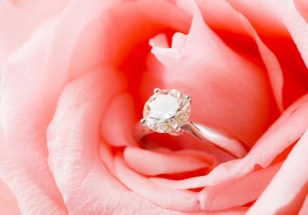 nestled: Pink Rose and diamond ring nestled inside