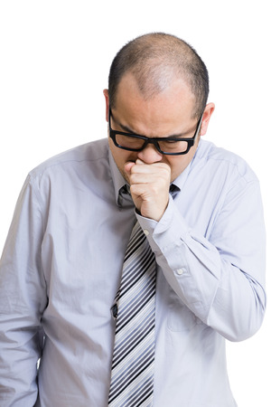 Asian businessman with cough photo