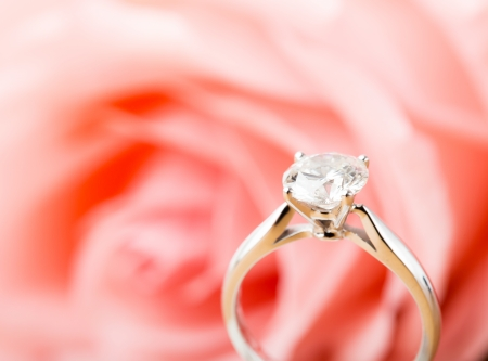 soft pedal: Rose and diamond ring Stock Photo