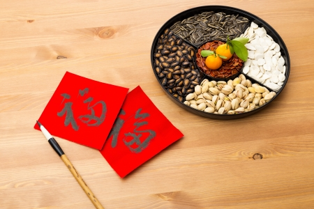 Chinese new year snack tray and chinese calligraphy, meaning for blessing good luck  photo