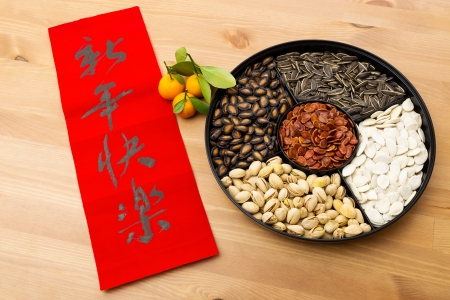 Lunar new year snack tray and chinese calligraphy, meaning is happy new year