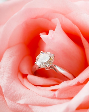 Pink Rose and diamond ring photo