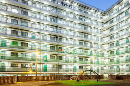 public housing: Public housing in Hong Kong at night Stock Photo