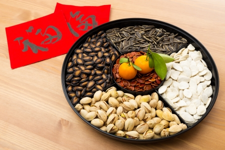 Chinese new year snack tray and chinese calligraphy, meaning for blessing good luck