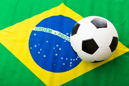 Brazil Flag and soccer ball photo