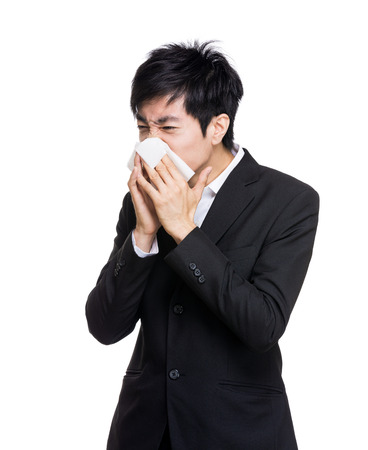 Asian businessman with nose allergy photo