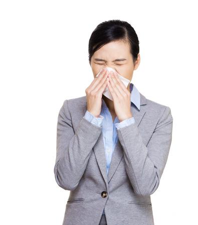 Businesswoman sneeze photo