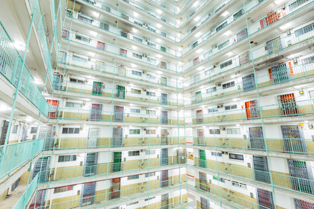 twin tower: Twin tower type building in Hong Kong Stock Photo