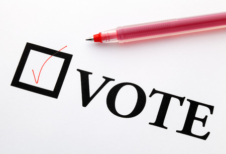 Filled check boxes with word VOTE