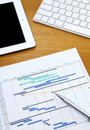 Project planning gantt chart with tablet and computer keyboard photo