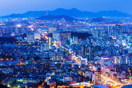 Seoul cityscape at night photo