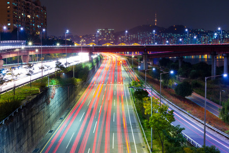 Seoul tarffic at night photo