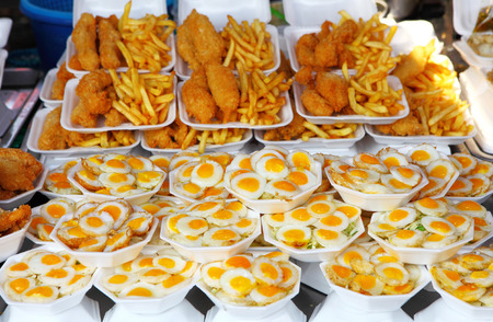 fired egg: Fired egg in food market Stock Photo