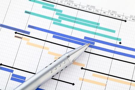 Gantt chart and pen photo