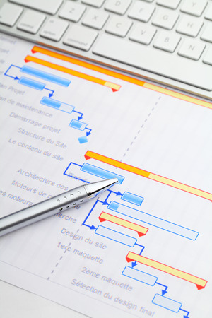Gantt chart with keyboard and pen Stock Photo