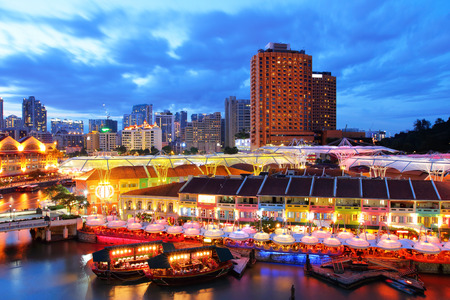 quayside: Singapore city Stock Photo
