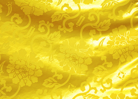 Golden silk with flower pattern 版權商用圖片