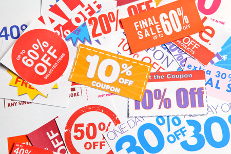 markdown: Group of coupon Stock Photo