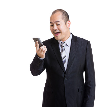 Asian businessman get angry to mobile photo
