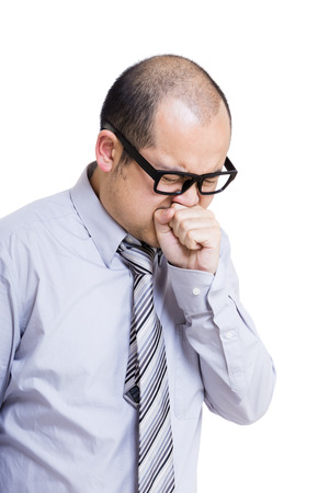 Asia man coughing photo