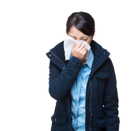 Asian woman sneeze portrait photo