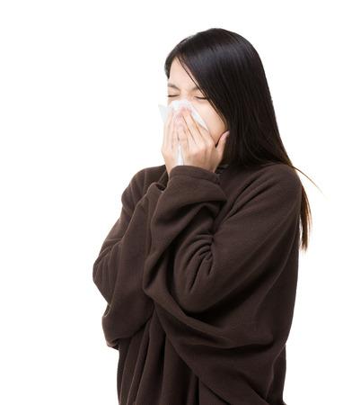 Asia woman sneeze portrait photo