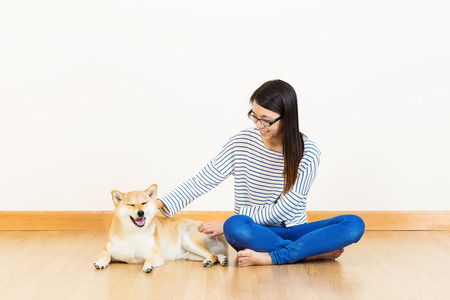 Asia woman with shiba at home photo
