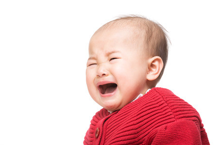 Asian baby girl crying photo