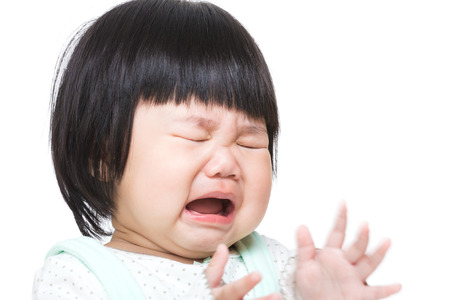 crying: Asia baby girl crying