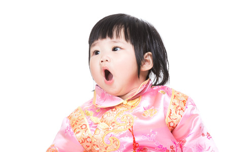 Chinese baby girl yawning photo