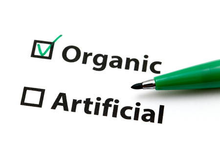 eating questions: Option for organic or artificial Stock Photo