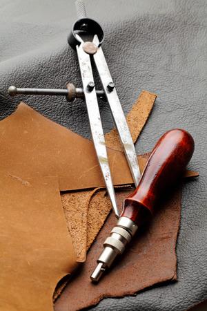 crafting: Handmade Leathercraft equipment Stock Photo