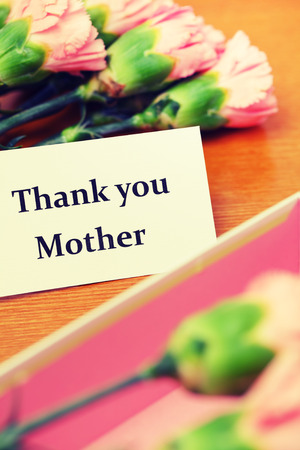 Carnation flower and thank you card photo