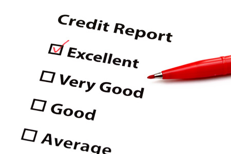 excellent: Credit report Stock Photo