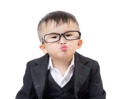 Business baby kissing photo