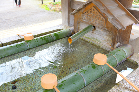 japanese temple: Water purification in japanese temple