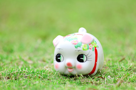 Chinese piggy bank on green lawn photo