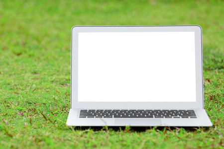 Laptop with blank screen on green lawn photo