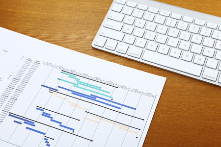 Gantt chart and keyboard photo
