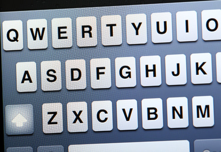 Qwerty keyboard on tablet photo