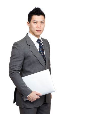 Asian businessman with computer photo