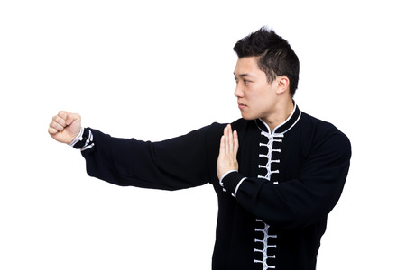 kung fu: Young Kung Fu fighter Stock Photo
