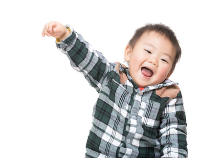 Asian baby boy feeling excited photo
