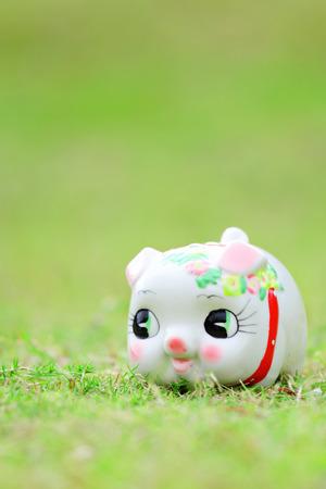 Chinese piggy bank on green grass photo