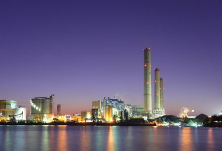 cement chimney: Industrial plant and sea