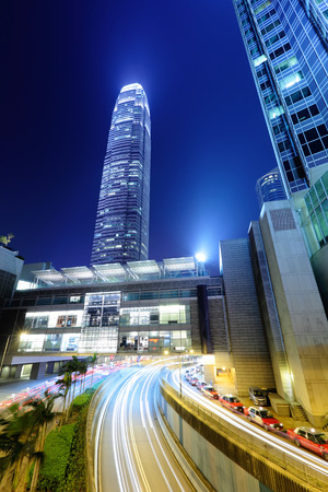 Hong Kong city with roadway photo