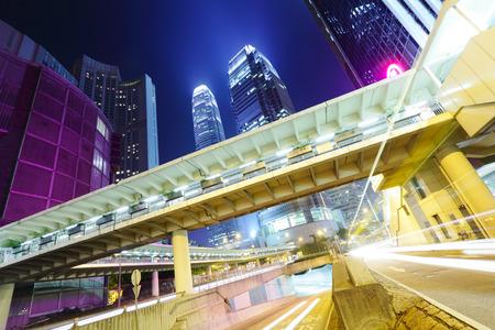 Busy traffic in Hong Kong at night photo